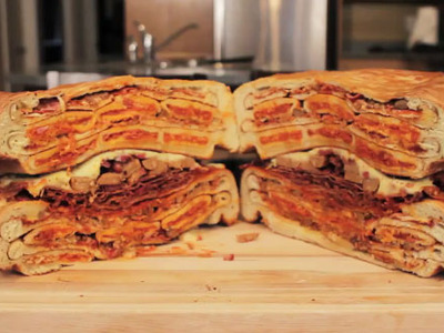 Display giant pizza pocket sandwich epic meal time