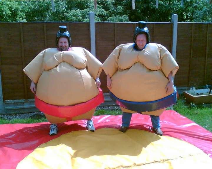 Sumo suits posing